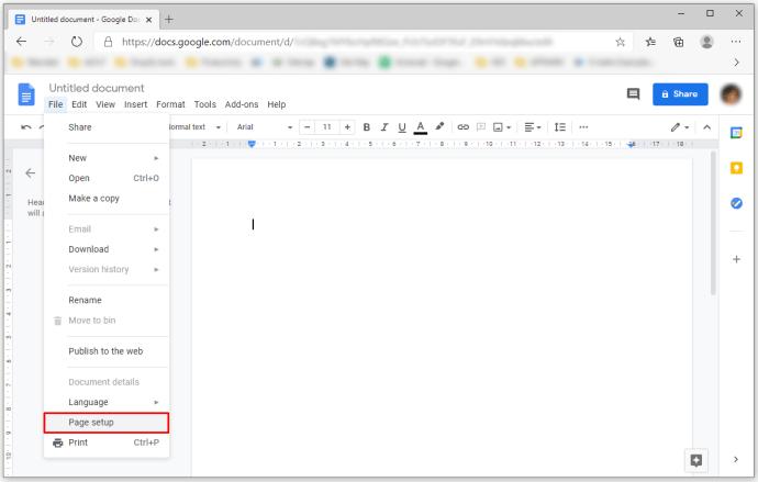Mengubah Margin di Google docs dengan Opsi Penyiapan Halaman