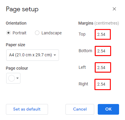 bagaimana mengubah margin di google docs