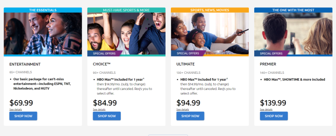 AT&T TV Now Pricing page
