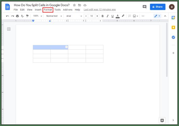 Cara Split Cells di Google Dokumen?