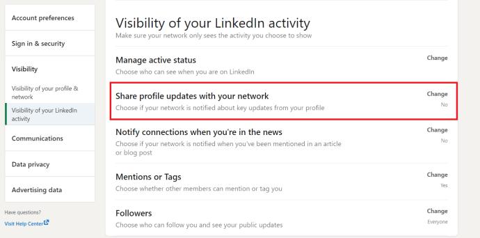 LinkedIn Visibility Menu 2