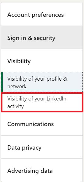 LinkedIn Visibility Menu