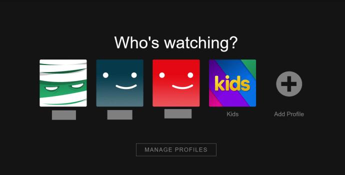 Página de perfil de Netflix