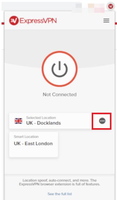 ExpressVPN locations menu button