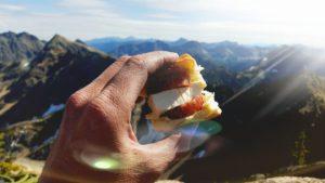 Hawaiian roll, dry salami, Laughing Cow cheese.