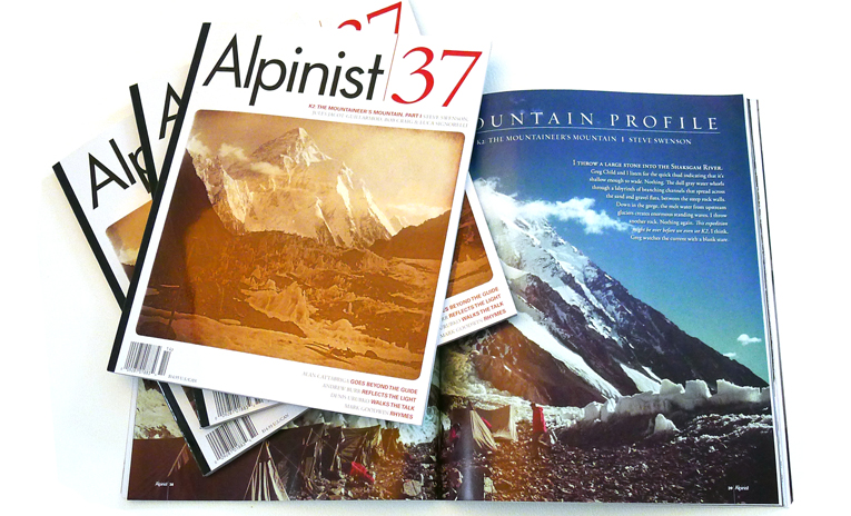 The cover and mountain profile of K2 from Alpinist 37 (courtesty Alpinist magazine)