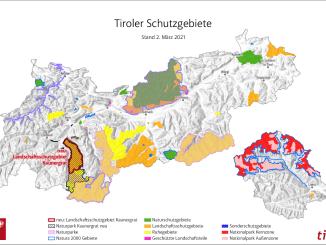 Die Schutzgebiete in Tirol. // Grafik: Tiris, Land Tirol