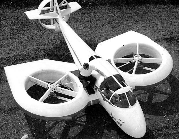 Intento de avión VTOL con rotores basculantes de principios de los sesenta (History of Vertical Flight).