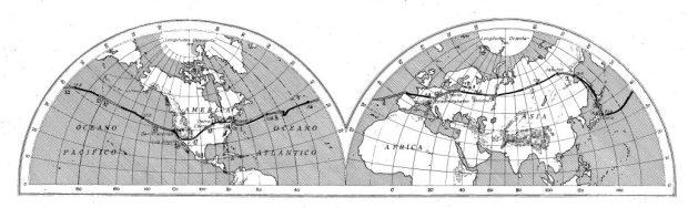 Mapa del itinerario del Graf Zeppelin en su vuelta al mundo, tomado del libro de Jerónimo Megías, 1929.