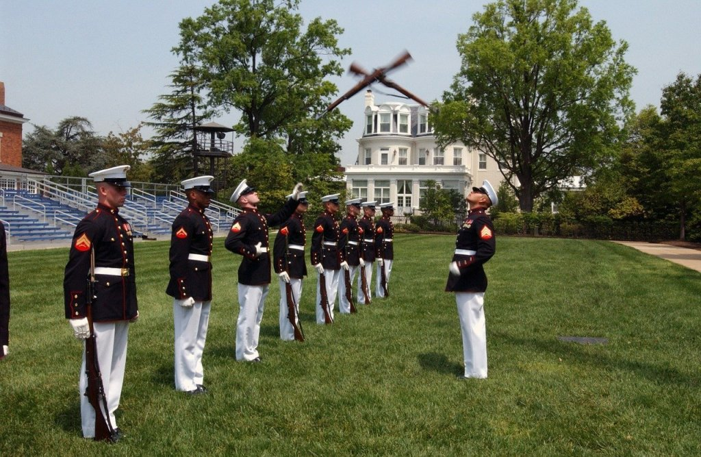 U.S. Marines in dress uniform