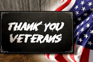Thank You Veterans Sign and Flag