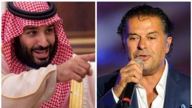 على اليمين راغب علامة وعلى اليسار ولي العهد السعودي محمد بن سلمان