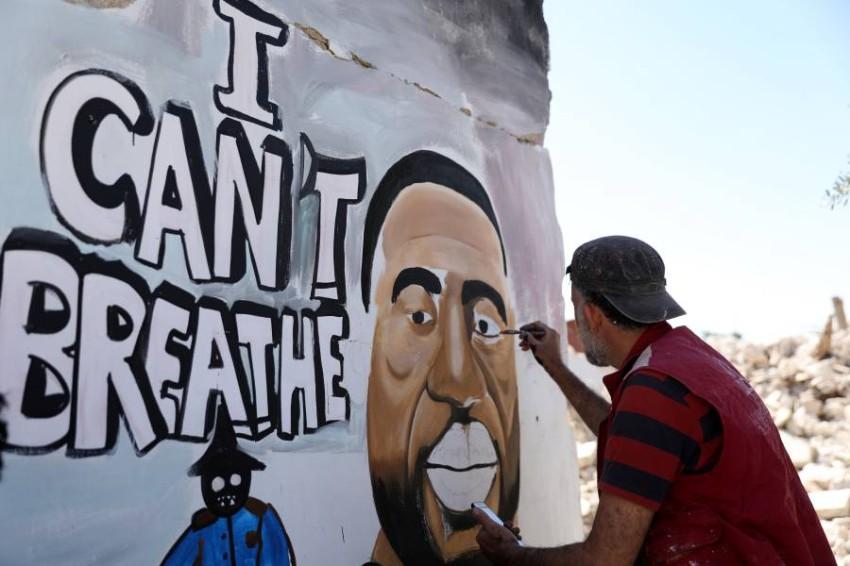 , Δύναμη των λαών η αλληλεγγύη: Συγκλονιστικά γκράφιτι στην Ιντλίμπ της Συρίας για τον δολοφονημένο Τζορτζ Φλόιντ, INDEPENDENTNEWS