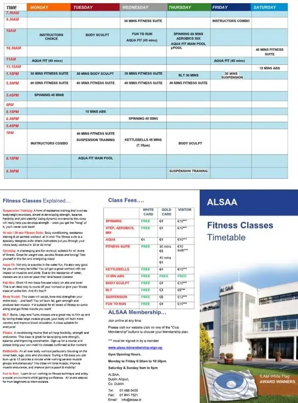 fitness timetable 2