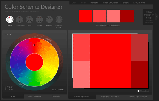 Capture de Color Scheme Designer