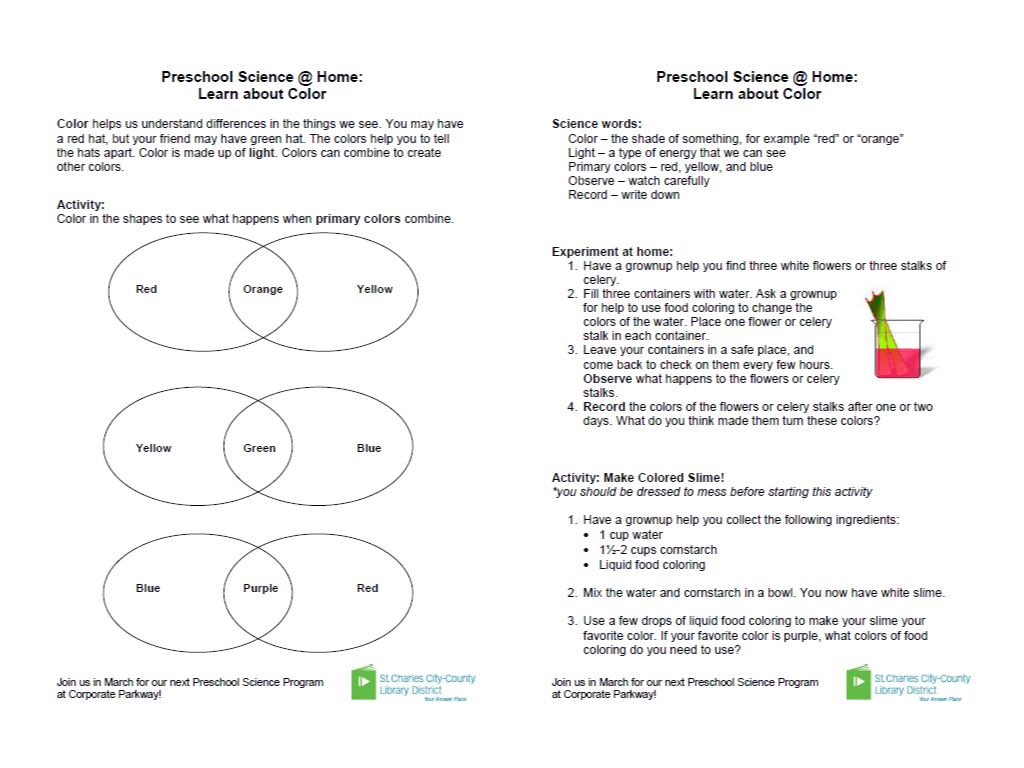 Take Home Activity Handouts For Preschool Science Programs