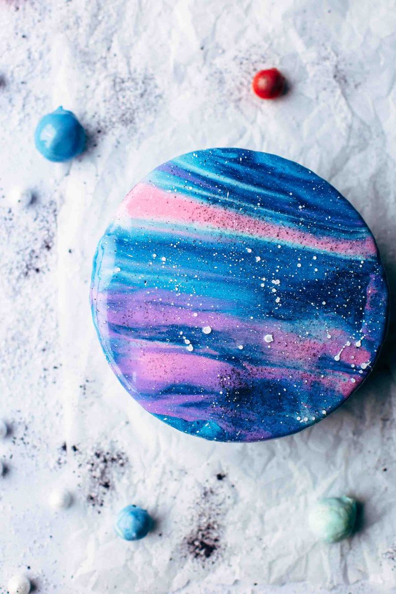 Mirror Glaze Galaxy Cake Recipe