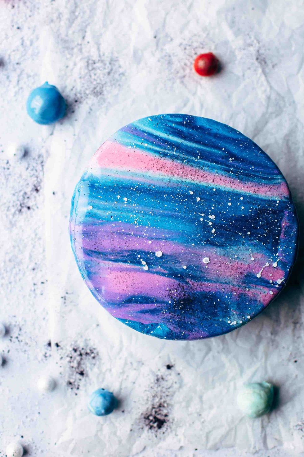 Mirror Glaze Galaxy Cake Recipe Video Also The Crumbs