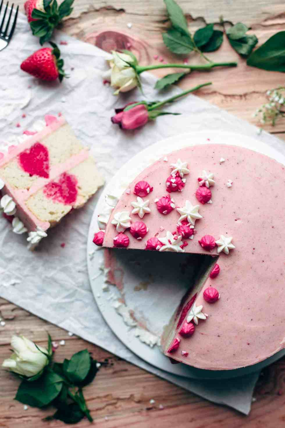 White Cake with Strawberry Frosting for Valentine's Day