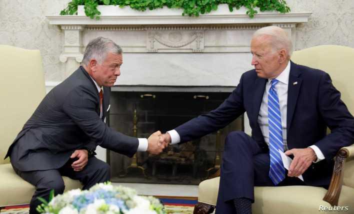 لقاء بايدن وعبد الله الثاني في البيت الأبيض- 20 تموز/يوليو 2021 (رويترز)