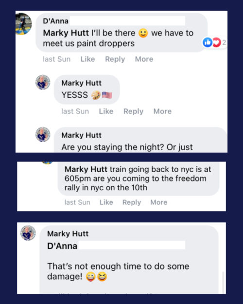 Mark Hutt corresponding with DAnna Morgan about traveling to Washington D.C. to