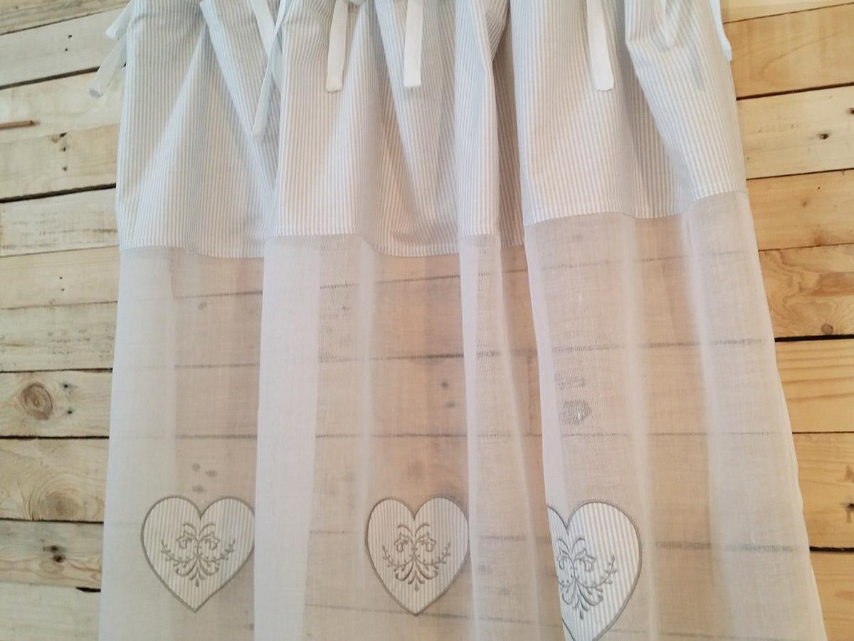 Elegant Rideau Voilage Blanc Et Coeurs Rays Gris Simla