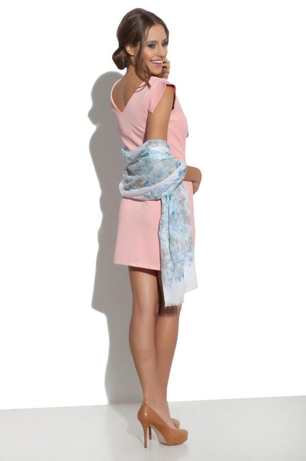 Sukienka mini z asymetrycznym dekoltem Filigran modelka back