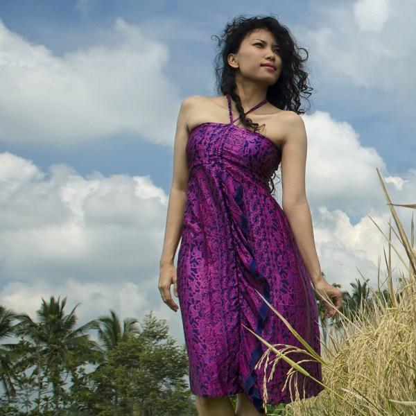 Robe midi en soie violette Sukawati