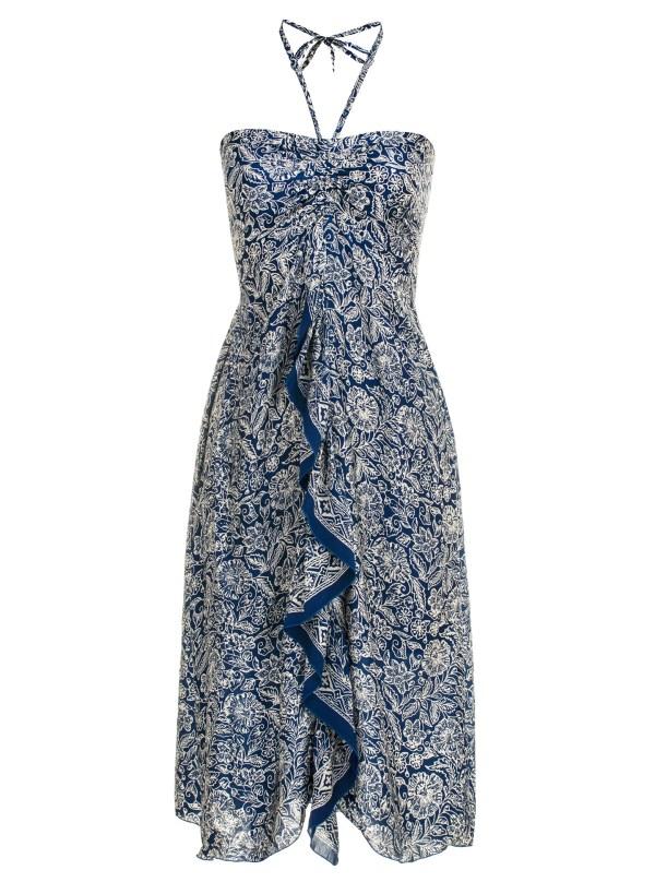 Sukienka jedwabna midi z wiązaniem na szyi i falbaną Kintamani packshot front