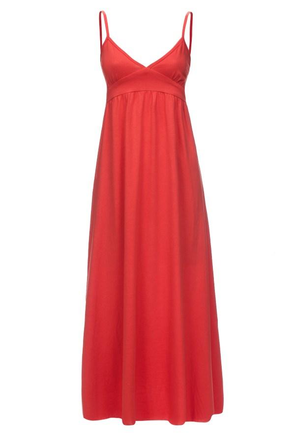 Sukienka letnia maxi na ramiaczkach pomaranczowa packshot front