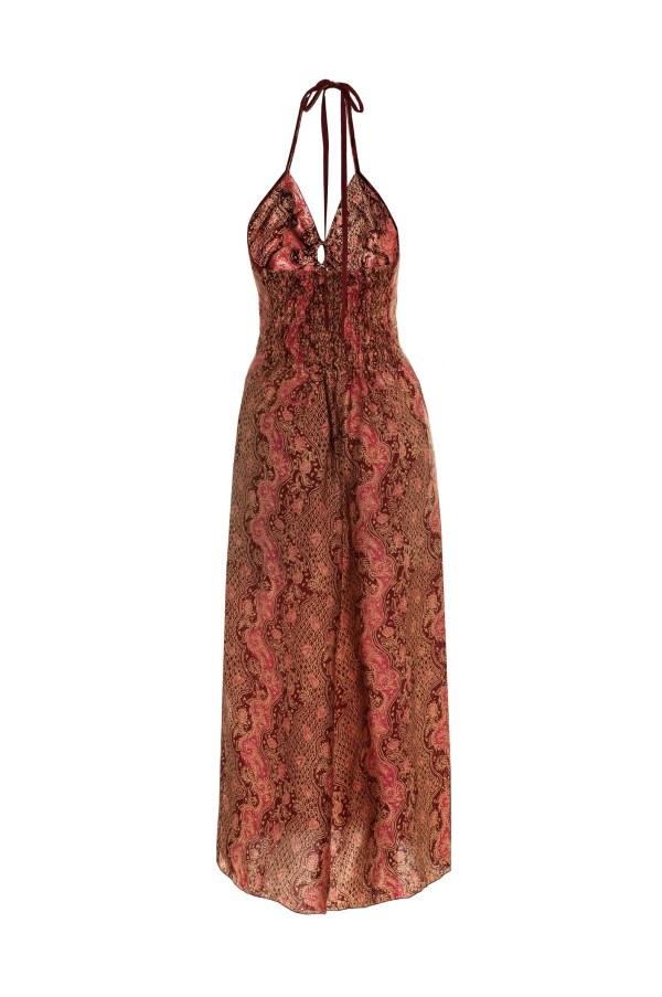 Sukienka maxi z naturalnego jedwabiu z wiązaniem na szyi i profilowanym dekoltem Singaraja packshot back