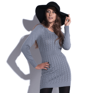 Robe mini en maille à manches longues Knitty Witty