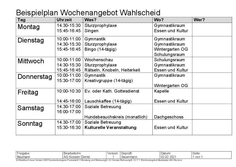 Musterplan für das Wochenangebot der sozialen Betreuung im Evangelischen Altenheim Wahlscheid