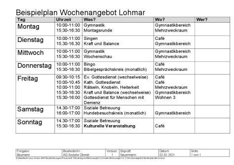 Musterplan für das Wochenangebot der sozialen Betreuung im Evangelischen Altenheim Lohmar