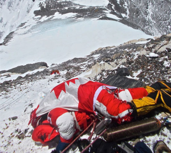 Body of Shriya Shah-Klorfine on Mt. Everest, 300m below the summit.