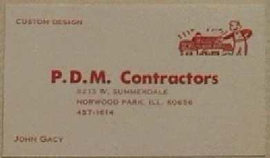 John Wayne Gacy PDM Contractor business card