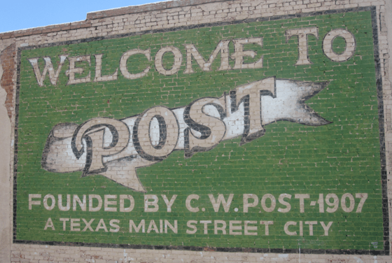 Welcome to Post Texas sign