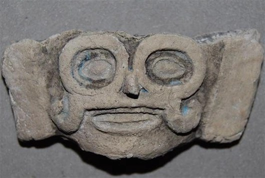 Artifact depicting Tlaloc, a pre-Columbian water god, that was found at the human sacrifice site at Lake Xaltocan, Mexico.