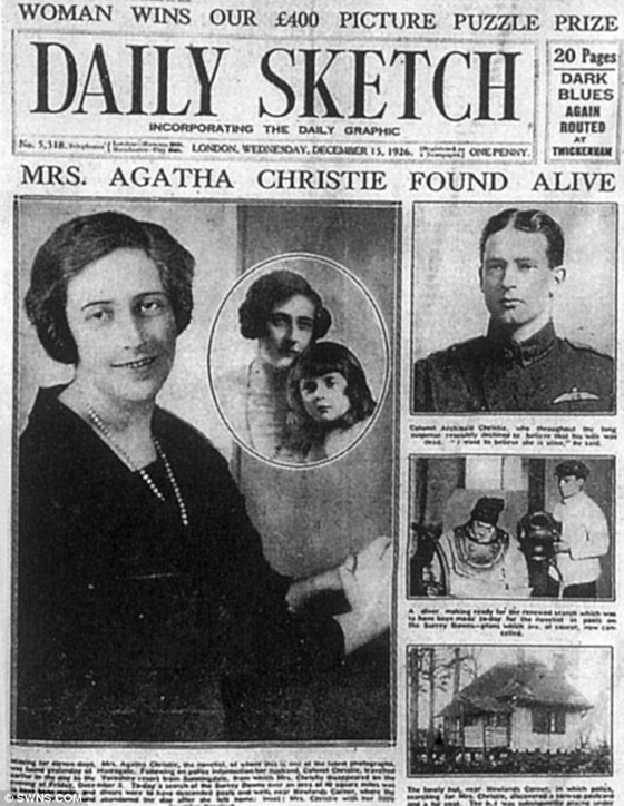 Daily Sketch headlines - Mrs. Agatha Christie found alive