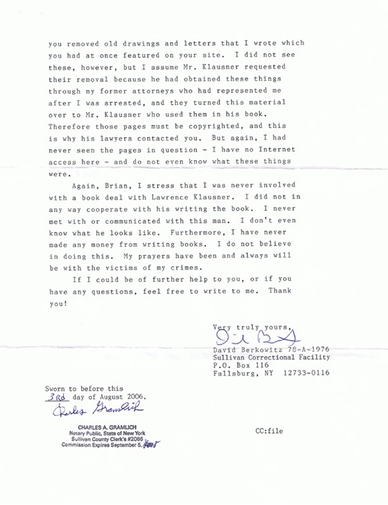 Son of Sam - David Berkowitz - Page 3 of letter to Altered Dimensions