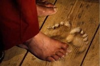 Buddhist monk footprints in floor