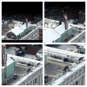 Another photo purported to show additional persons on a nearby roof