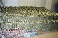 Money recovered from a Mexican drug cartel