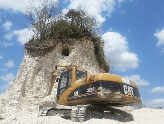 Mayan pyramid destroyed by road construction company