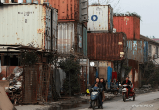Chinese shipping container city in Shanghai
