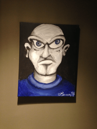 Angry man painting in Room 322 of Houston's Hotel ZaZa