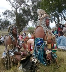 African witch doctors visit a local village
