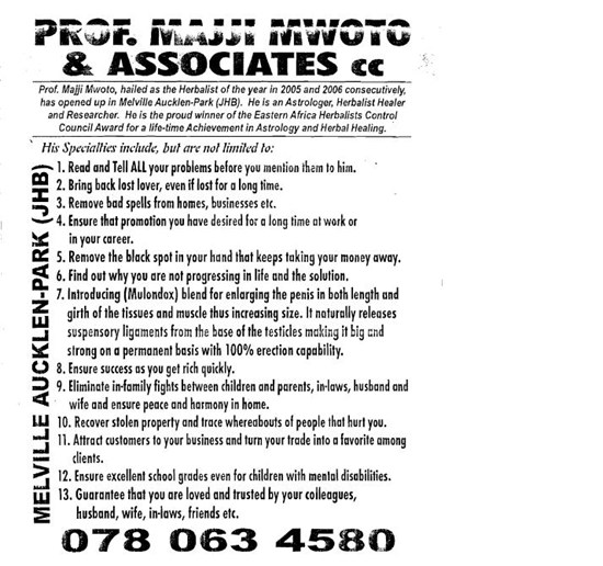 Example African witchdoctor advertisement