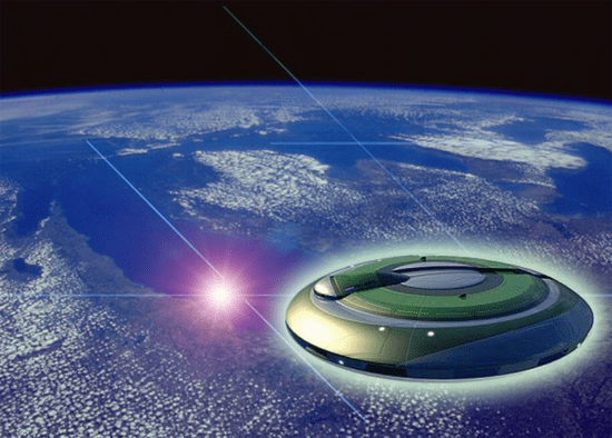 Illustration - UFO over planet earth