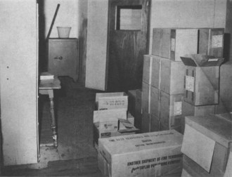 Boxes on 6th floor of Texas School Book Depository (sniper's nest)